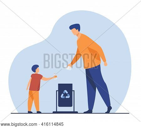 Father And Son Throwing Out Empty Bottles To Trash Bin. Garbage, Litter, Reuse Flat Vector Illustrat