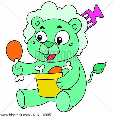 Cartoon Sticker Of A Lion Enjoying A Fried Chicken Thigh, Character Cute Doodle Draw. Vector Illustr