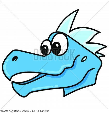 Crocodile Head Emoticon With Fierce Face, Character Cute Doodle Draw. Vector Illustration