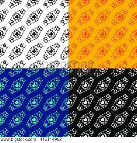 Set Of Seamless Patterns With Sport Belt Of Boxing Champion, Winner. Ornament For Decoration And Pri