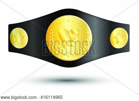 Golden Sport Belt Of Boxing Champion, Kickboxing Tournament Winner With Gloves And Laurel Wreath Emb