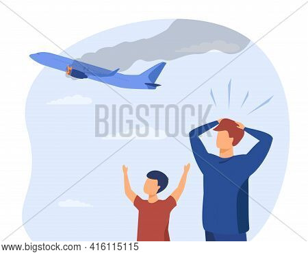 Scared Dad And Son Looking At Damaged Plane In Sky. Aircraft, Fire, Engine Flat Vector Illustration.