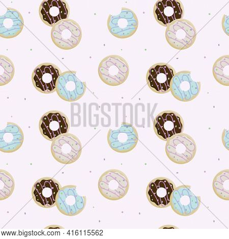 Donut Day. Seamless Pattern Of Bitten Donuts In Icing And Sprinkling On Pink Background