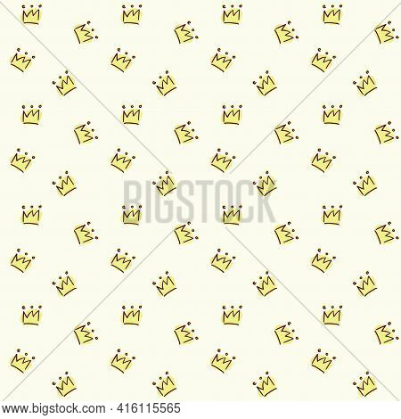 Vector Seamless Pattern. Painted Crown On A Light Yellow Background. Fabric Drawing, Packaging Paper