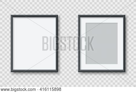 Realistic Vertical Blank Picture Frame Isolated On Transparent Background. Empty Photo Frames Set Mo