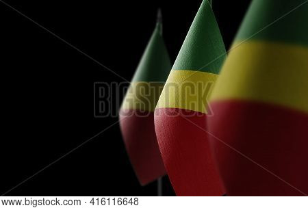 Small National Flags Of The Congo On A Black Background