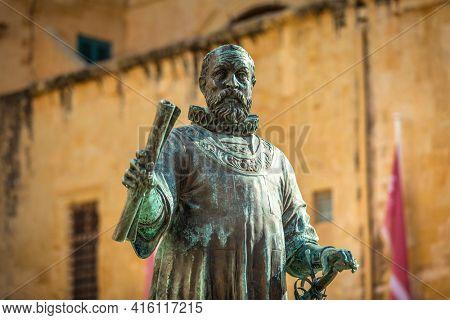 Valetta, Malta - January 11, 2019: Statue of Jean de Valette in the city center of Valletta, the capital of Malta.