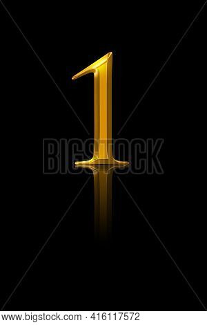 One, Gold Number, Over Black. Symbol Of The Number One, Representing A Single Entity, First Place Or