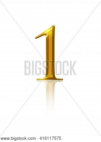 One, Gold Number, Over White. Symbol Of The Number One, Representing A Single Entity, First Place Or