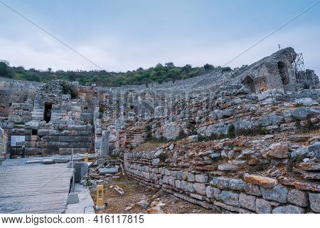 Road And Stone Walls Going To Historical Theatre In Ephesus Ruins, Historical Ancient Roman Archaeol