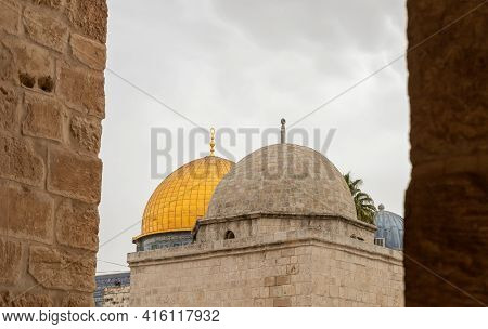 View Of The Dome Of The Rock Mosque And The Grammar Dome - Office Of Chief Judge Between The Columns