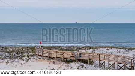 Boardwalk On The Beach At Gulf Shores, Alabama, Usa