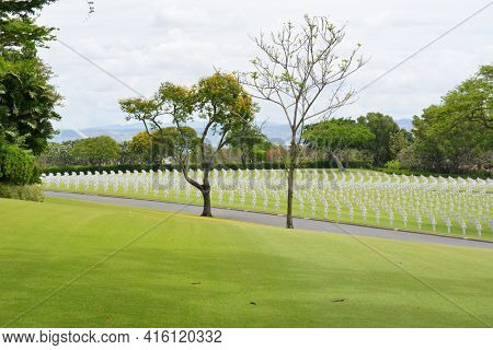 MANILA, PHILIPPINES - APRIL 1, 2016: Manila American Cemetery and Memorial. With 17,206 graves it is the largest WWII cemetery for US personnel.