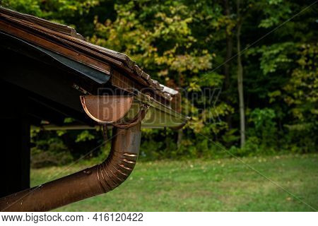 Copper Gutters Along Wooden Shake Roofline In Cuyahoga Valley National Park