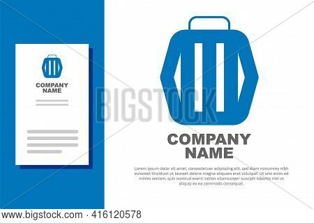 Blue Pet Carry Case Icon Isolated On White Background. Carrier For Animals, Dog And Cat. Container F
