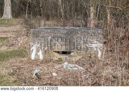 Bunker Near Estuary Vistula River To The Baltic Sea.