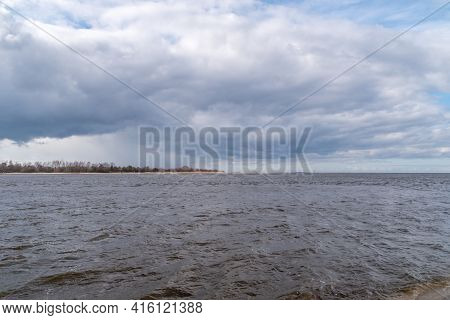 Estuary Vistula River To The Baltic Sea At Cloudy Day.