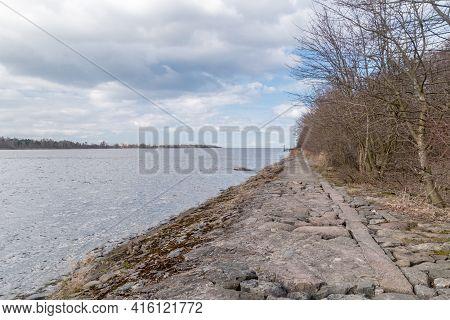 Path To Estuary Vistula River To The Baltic Sea.