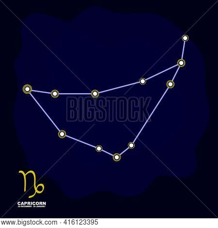 Vector Image With Capricorn Zodiac Sign And Constellation Of Capricorn For Your Project
