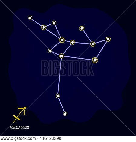 Vector Image With Sagittarius Zodiac Sign And Constellation Of Sagittarius For Your Project