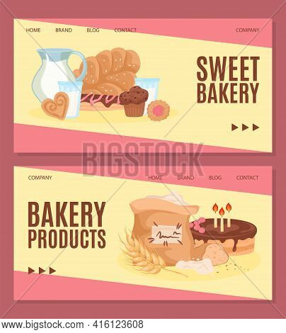 Assortment Fresh Bakery Product, Vector Illustration. Variety Cereals, Delicious Buns, Muffins, Past