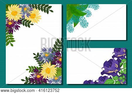 Botanical Florist Card Decorated Beautiful Bright Flowers, Vector Illustration. Banner Natural Sprin