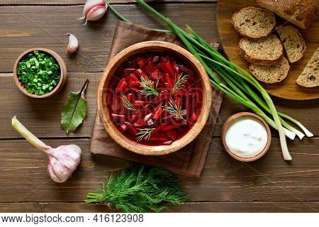 Traditional Ukrainian Russian Soup (borscht). Beetroot Soup In Bowl On Wooden Background. Top View,