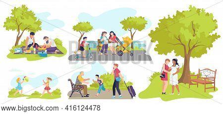 Casual People Resting, Relax In Nature Summer, Vector Illustration. Joyful Cute Kids Having Fun, Hap