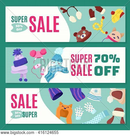 Discount, Sale At Warm Children Winter Hats, Vector Illustration. Baby Clothes, Cute Accessories For