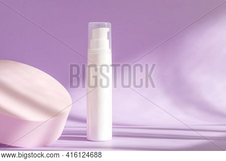Cream Product Presentation, Cosmetics Branding, Lotion, Peptide, Collagen, Hyaluronic Acid On Podium
