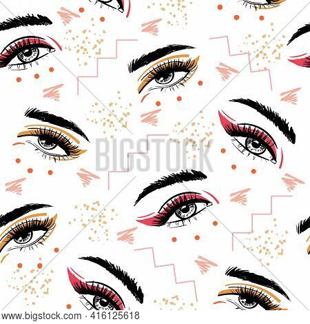 Eyes With Bright Eyeliner Makeup Pattern Brow