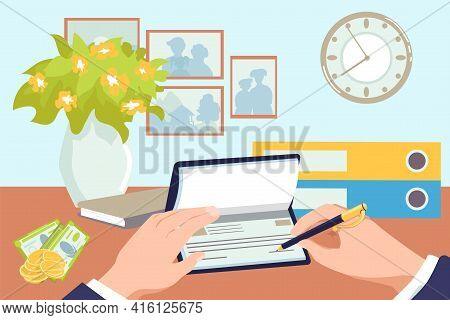 Hands Holding Money, Pay By Checkbook, Vector Illustration. Business Cheque Payment, Finance Banking