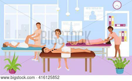 Massage Therapist Cabinet, Massaging Woman Relax At Table, Vector Illustration. Leisure In Salon, Bo
