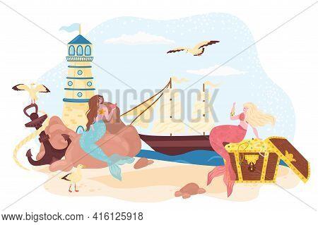 Mermaid At Sea Shore, Vector Illustration. Cartoon Girl Character With Beautiful Tail, Drawing Fanta