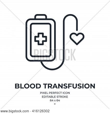 Blood Donation Or Transfusion Concept Editable Stroke Outline Icon Isolated On White Background Vect