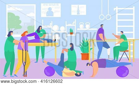 Physiotherapy, Medical Rehabilitation For Patient, Vector Illustration. Healthcare Recovery By Physi