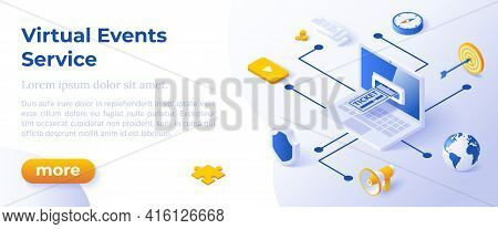 Virtual Events Service - Isometric Design In Trendy Colors Isometrical Icons On Blue Background. Ban