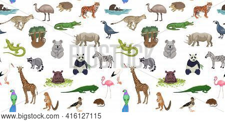 Seamless Pattern With Wild Exotic Animals, Mammals And Birds, Rainforest And Savannah Fauna. Vector