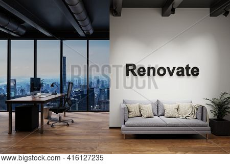 Luxury Loft With Skyline View And Vintage Couch And Pc Workspace, Wall With Renovate Lettering, 3d I