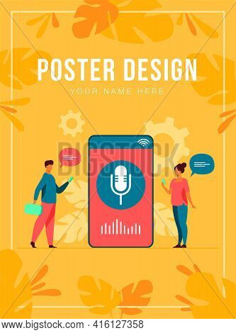 People Using Voice Assistant App On Smartphone With Speaker On Screen. Vector Illustration For Sound