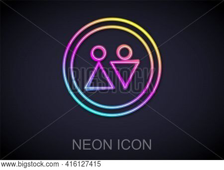 Glowing Neon Line Toilet Icon Isolated On Black Background. Wc Sign. Washroom. Vector