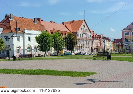 Ozersk (darkehmen, Angerapp), Kaliningrad Region, Russia, June 15, 2019. A Complex Of Buildings Of F