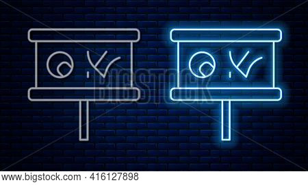 Glowing Neon Line Planning Strategy Concept Icon Isolated On Brick Wall Background. Baseball Cup For