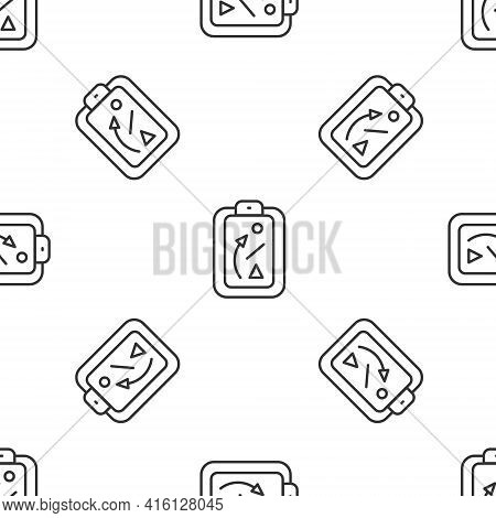 Grey Line Planning Strategy Concept Icon Isolated Seamless Pattern On White Background. Baseball Cup