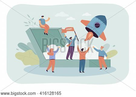 Cartoon Launching New Business Project Flat Vector Illustration. Team Of People Making Startup With