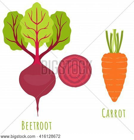 Beetroot Plant And Carrot Isolated On White