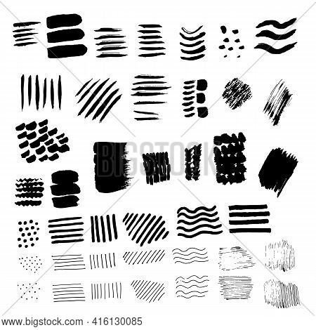 Set Of Vector Black Stains. Collection Of Brush Strokes And Stains Of Black Hand Drawn Stains.