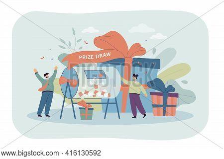 Cartoon Happy People Winning On Prize Draw. Flat Vector Illustration. Lucky Tiny Couple Standing Nea