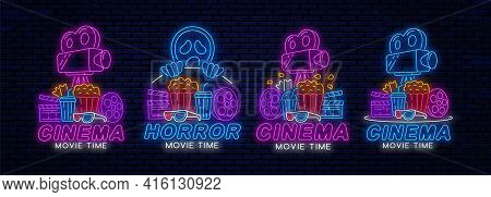 Set Of Cinema Neon Signs Or Logos. Cinema Glowing Night Banner Design Template. Neon Signboard For M