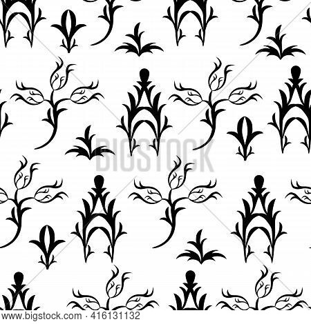 Black And White Seamless Baroque Pattern, Vector Damask Pattern With Flowers. Refined Victorian Geom